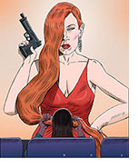 Spoof of the film Ava with Jessica Chastain's title character assassin holding a pistol and sporting a peek-a-boo hairstyle with her long red hair extending off the screen where a female patron in the front row covers her eyes with it.