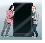Spoof of the film Bill & Ted Face the Music with the leads, Keanu Reeves and Alex Winter, trying to listen in on a turned-off smart phone which replaces the iconinc telephone booth from the earlier movies in the series.