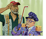A spoof of the film Da 5 Bloods with actor Delroy Lindo saluting Director Spike Lee dressed up as a colorful General