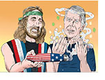 Parody based on the documentary film Jimmy Carter: Rock & Roll President showing Willie Nelson offering an enormous joint decorated with Stars and Stripes to Presidential candidate Jimmy Carter who is sweeping the smoke towards himself.