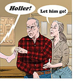 "Spoof of the film Let Him Go with Kevin Costner playing a game of Eeny, meeny, miny by pulling the big toe of his grandson who yells 'Holler!' as his grandma Diane Lane instructs, ""Let him go!"""