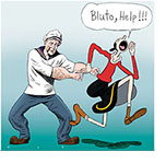 "Robin Williams as Popeye reaching out for a cartoon Olive Oyl who is running away from him yelling, ""Bluto, Help!"""