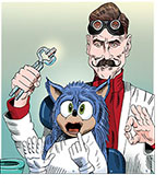 Dr. Ivo Robotnik (Jim Carrey ) supervises the makeover of Sonic the Hedgehog by pulling out his upper teeth