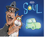 Spoof of the Pixar animated film Soul where the main caharcter Joe and the cat Mr. Mittens are selling a Kia Soul automobile.