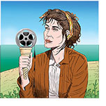 Spoof of the film Summerland with star Gemma Arterton by the British seaside holding an ice cream cone which holds a melting reel of film.