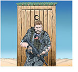 Spoof of the film The Outpost with armed soldier Scott Eastwood protecting an outhouse in Afghanistan