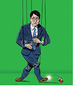 Spoof of the film Vanguard with Jackie Chan in a suit in front of a green screen doing wire work to kick a can.