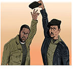 Spoof of the film Judas and the Black Messiah with Fred Hampton (Daniel Kaluuya) stretching to reach for his beret which is being held aloft in the clenched power fist of the taller Bill O'Neal (LaKeith Stanfield.)
