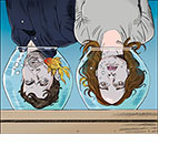 Spoof of the film Little Fish with the lead characters  Jude (Jack O'Connell) and Emma (Olivia Cooke) upside down with their heads in matching goldfish bowls.