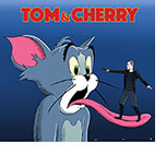 Spoof poster for the film Tom and Jerry with the cartoon looking scared as he sticks out his tongue and Tom Holland as the bank-robbing lead character from Cherry is standing on it pointing a pistol between his eyes.