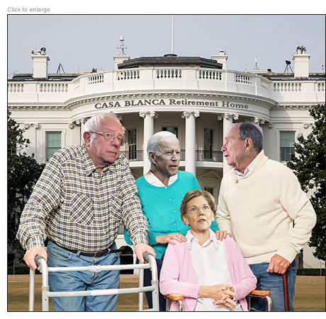 Bernie Sanders, Joe Biden, Elizabeth Warren and Mike Bloomberg as seniors vying for a place in the Casa Blanca Retirement Home
