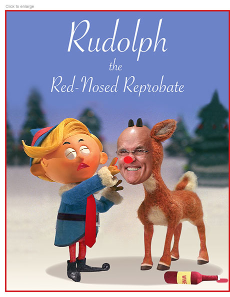 Parody entitled Rudolph the Red-Nosed Reprobate with puppet Donald Trump and Giuliani as a reindeer