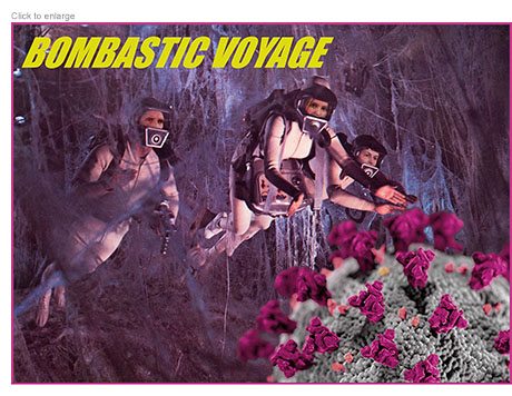 Mike Pence, Ivanka Trump and Jared Kushner as micronauts fighting the coronavirus in a spoof of Fantastic Voyage entitled Bombastic Voyage