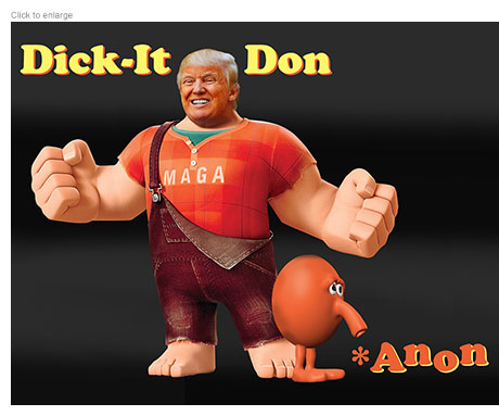 Spoof of Wreck-It Ralph with Donald Trump as Dick-It Don and a sad-looking Q*bert character as Q*Anon.