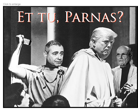 Lev Parnas as Brutus attacks Donald Trump as Julius Caesar with a smart phone as Rudy Giluiani looks on