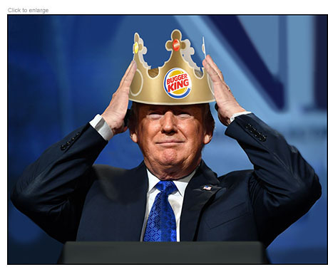 Donald Trump placing a paper crown on his head that read Bugger King.