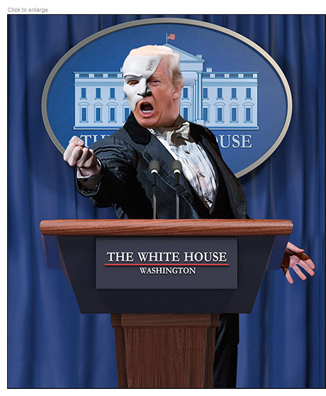 Trump as The Phantom of the Opera at a White House podium wearing a N95 half mask