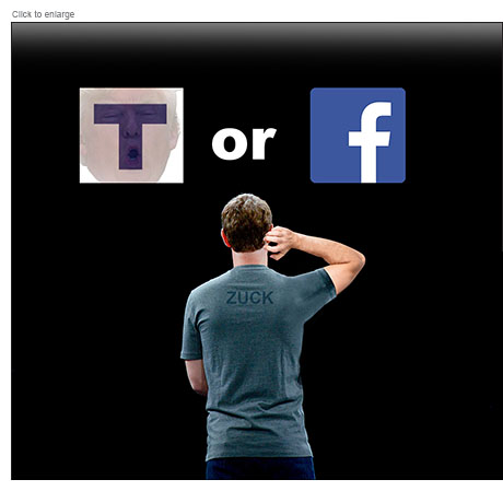 Mark Zuckerberg is seen from behind as he scratches his head considering T for True and Trump or False with the Facebook F logo.