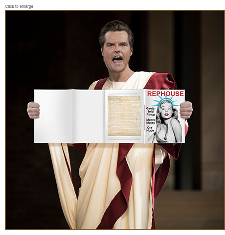 U.S. representative Matt Gaetz in a Roman toga holds up a copy of dirty magazine Rephouse with a sexy Lady Liberty on the cover and it's conterfold opened up.